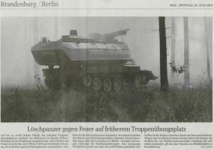 Löschpanzer gegen Feuer auf Truppenübungsplatz