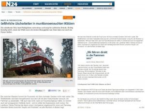 Gefaehrliche Loescharbeiten in munitionsverseuchten Waeldern - N24 22.07.2013