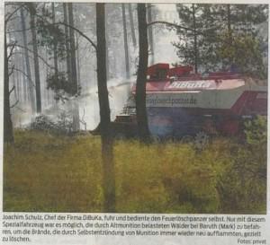 Löschpanzer im Kampf gegen Waldbrände