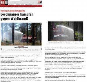 Munitionsexplosionen in Brandenburg - Loeschpanzer kaempfen gegen Waldbrand - Bild.de 21.07.2013